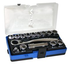 A-15GOTH Go-Through Socket Set + Ratchet Spline 6-12 Square Double Hex Nuts Torx