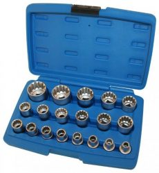 A-SUNI19 1/2″ Drive Socket Set 19pcs, Gear Locking Sockets, Chrome Vanadium